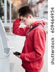 boy found he lost his debit card | Shutterstock . vector #609464954