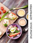 healthy meal with eggs and... | Shutterstock . vector #609464984