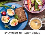 healthy meal with eggs and... | Shutterstock . vector #609465038