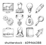 vector set of sketch hand drawn ... | Shutterstock .eps vector #609466388