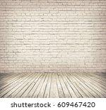 room interior with white brick... | Shutterstock . vector #609467420