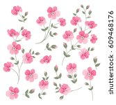 set of linen flowers elements.... | Shutterstock .eps vector #609468176