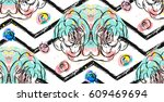 hand drawn vector abstract... | Shutterstock .eps vector #609469694