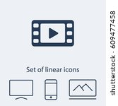 video icon. one of set web icons   Shutterstock .eps vector #609477458