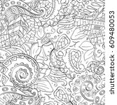 tracery seamless pattern.... | Shutterstock .eps vector #609480053