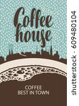 vector banner for a coffee... | Shutterstock .eps vector #609480104