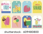 set of stickers with ice cream... | Shutterstock .eps vector #609480800