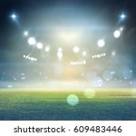 stadium in lights and flashes... | Shutterstock . vector #609483446