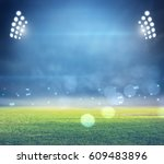 stadium in lights and flashes... | Shutterstock . vector #609483896