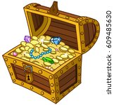 opened wooden treasure chest... | Shutterstock .eps vector #609485630
