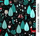 spring or summer pattern with... | Shutterstock .eps vector #609485654