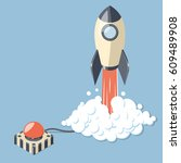 started 3d rocket spaceship and ... | Shutterstock .eps vector #609489908