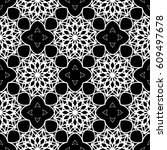 intricate black and white... | Shutterstock .eps vector #609497678