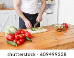 middle aged athlete  cuts... | Shutterstock . vector #609499328
