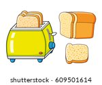 toaster with slices and half a... | Shutterstock .eps vector #609501614