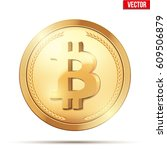 golden coin with bitcoin sign.... | Shutterstock .eps vector #609506879