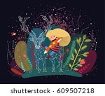 forest girl  constellation deer ... | Shutterstock .eps vector #609507218