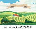 rural summer landscape with... | Shutterstock .eps vector #609507386