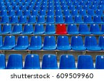 dark blue rows of seats on the... | Shutterstock . vector #609509960