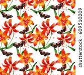 wildflower leopard lily flower... | Shutterstock . vector #609510209