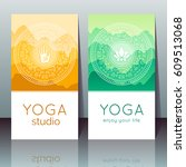 vector yoga cards with mudra ... | Shutterstock .eps vector #609513068
