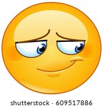 emoticon with embarrassed smile ... | Shutterstock .eps vector #609517886