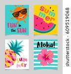 vector set of cute bright... | Shutterstock .eps vector #609519068