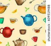 watercolor tea seamless pattern ... | Shutterstock . vector #609519488