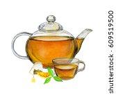 illustration on the tea theme... | Shutterstock . vector #609519500
