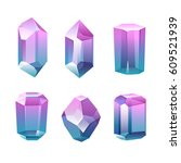 colorful assorted crystals set. ... | Shutterstock .eps vector #609521939