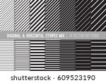 black and white diagonal and... | Shutterstock .eps vector #609523190