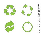 recycle icon set green on white ... | Shutterstock .eps vector #609529670