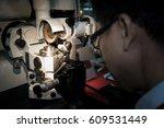precising lathe machine with... | Shutterstock . vector #609531449