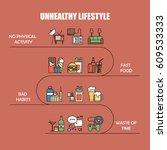 unhealthy lifestyle vector... | Shutterstock .eps vector #609533333