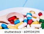 medicine green and yellow pills ... | Shutterstock . vector #609534194