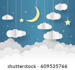paper art of goodnight and... | Shutterstock .eps vector #609535766