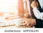 business conference with... | Shutterstock . vector #609536144