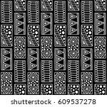 seamless vector pattern. black... | Shutterstock .eps vector #609537278