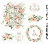 save the date floral elements   Shutterstock .eps vector #609537596