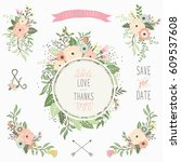 floral bouquet frame elements | Shutterstock .eps vector #609537608