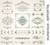 ornate vintage design elements... | Shutterstock .eps vector #609539756