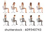 office chair yoga. corporate... | Shutterstock .eps vector #609540743