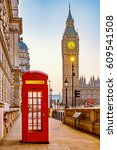 traditional red phone booth and ... | Shutterstock . vector #609541508