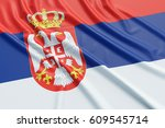 serbia flag. wavy fabric high... | Shutterstock . vector #609545714
