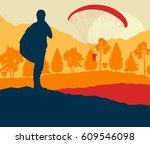 paragliding jump landscape with ... | Shutterstock .eps vector #609546098