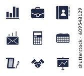 set of 9 bureau icons set... | Shutterstock .eps vector #609548129