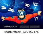 vr virtual reality space journey | Shutterstock . vector #609552176