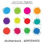 colorful paint splatters.paint... | Shutterstock .eps vector #609554453