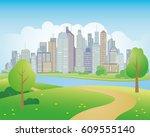 vector illustration of park in... | Shutterstock .eps vector #609555140