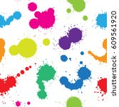 abstract paint splashes... | Shutterstock .eps vector #609561920